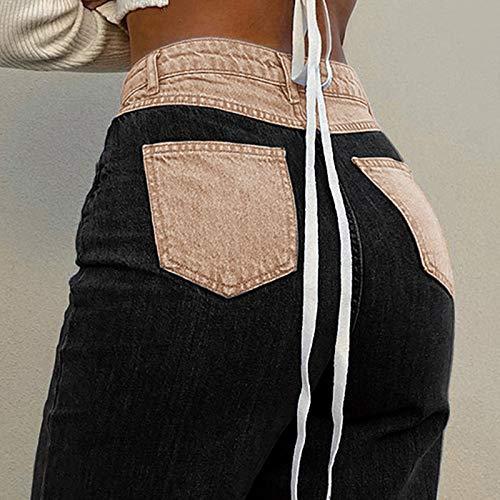 Women's Patchwork Pants Hight Waist Distressed Straight Denim Jeans Fashion A-line Vintage Pencil Trousers