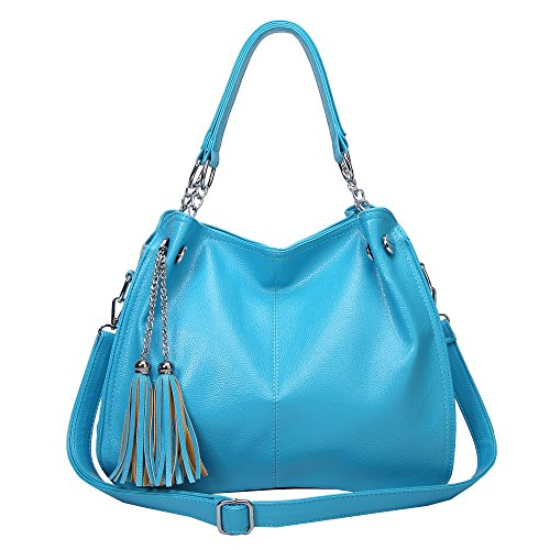Caistore Women PU Leather Handbag for School & Daily Commute, Orange Lightblue Winered