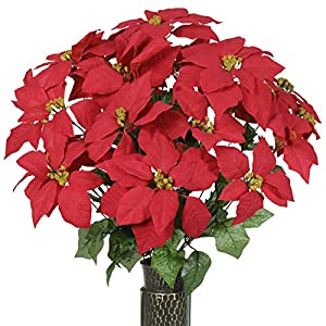 Ruby's Silk Flowers Red Poinsettia Artificial Bouquet, Featuring The Stay-in-The-Vase Design(c) Flower Holder (LG1019) 66