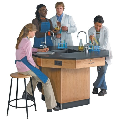"""Diversified Woodcrafts 1516K Solid Oak Wood Octagon Workstation with Pedestal Base and Epoxy Resin Top, 56"""" Width x 36"""" Height x 56"""" Depth"""