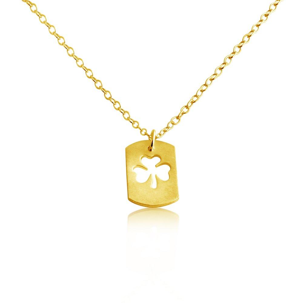Patricks Lucky Dog Tag Charm Pendant Necklace .This Gold Plated Necklace is the Perfect Jewelry Gift Azaggi Gold Plated Silver Necklace 3 Leaf Clover Shamrock Symbol of Ireland Irish St