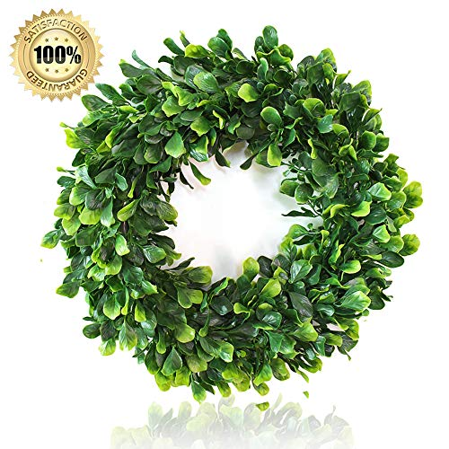 Heflashor 16'' Eucalyptus Wreath Artificial Door Wreath Decoration Boxwood Wreath Leaves Wreath Eucalyptus Garland for Home Office Wall Front Door Wedding Decor (Fall Wreaths Door Sale)