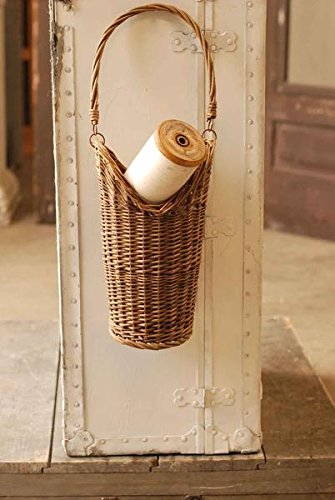 Brown Wicker Hanging Bread and Accessory Basket with Swing Handle