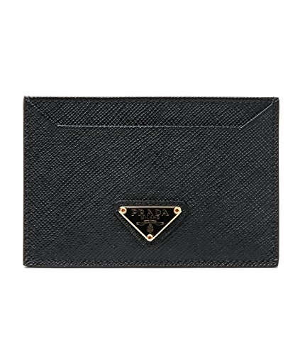 Wiberlux Prada Men's Inverted Triangle Logo Real Leather Card Wallet One Size Black_Gold - Triangle Prada Logo