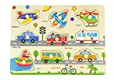 Wooden Puzzles Vehicles & Traffic Tools Chunky Baby Puzzles Peg Board for Preschool Educational Jigsaw Puzzles, 9 Pieces