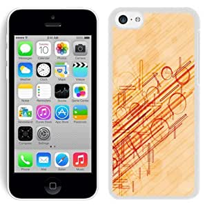 NEW Unique Custom Designed iPhone 5C Phone Case With Red Lines And Circles_White Phone Case