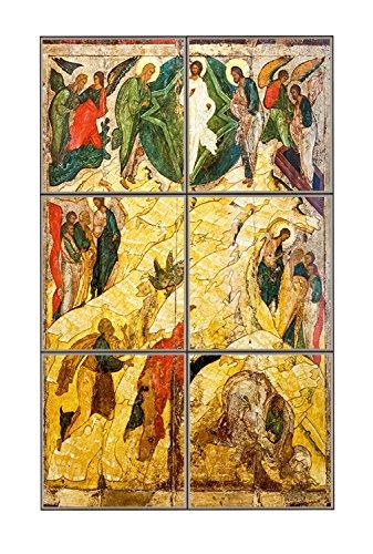 Russian Orthodox Icon Transfiguration Vertical Tile Mural Satin Finish 18 Hx12 W 6 Inch Tile