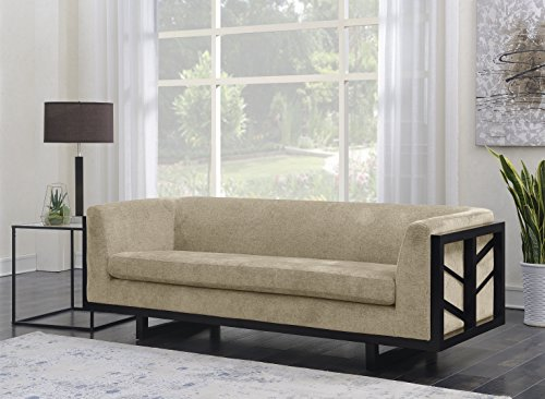 Iconic Home Arianna Sofa Linen-Textured Upholstery Espresso Finished Lattice Wood Frame, Modern Transitional, Gold