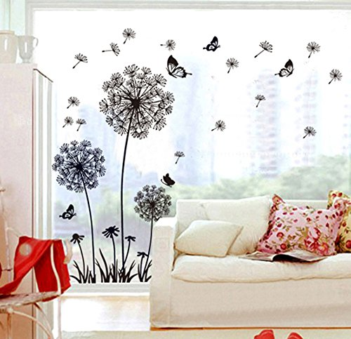 ufengke Black Dandelions and Butterflies Flying In The Wind Wall Decals, Living Room Bedroom Removable Wall Stickers Murals - Removable Room