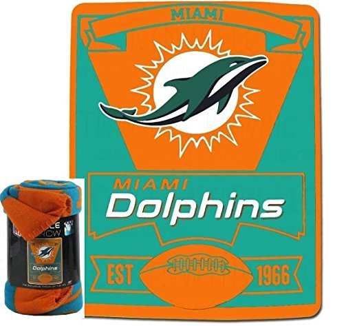 NFL Miami Dolphins Marque Printed Fleece Throw, 50-inch by 60-inch