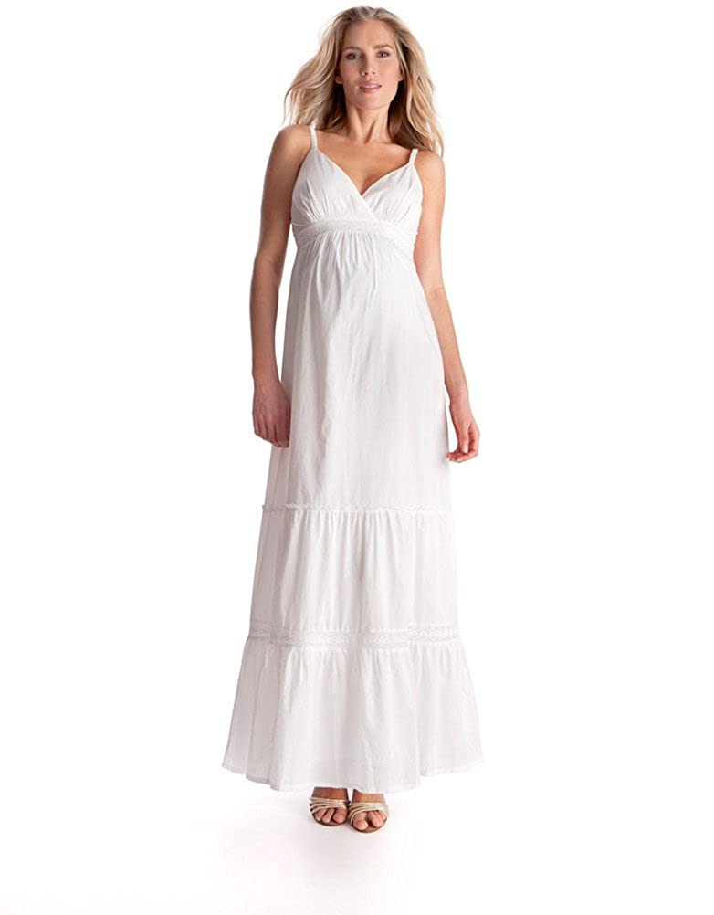162440e0af38 Seraphine Women s White Cotton Maternity Maxi Dress at Amazon Women s  Clothing store