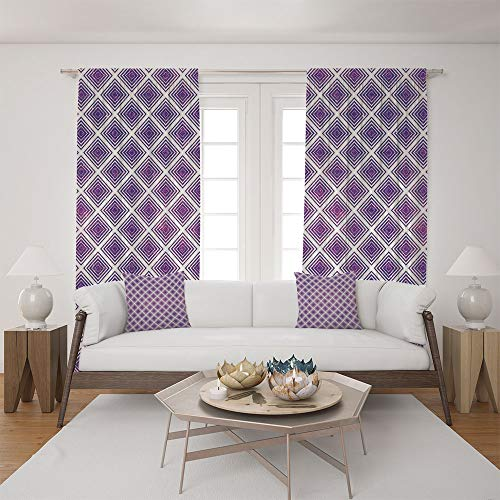2 Panel Set Satin Window Drapes Living Room Curtains and 2 Pillowcases,Abstract Squares Pattern Modern Design Graphic,The perfect combination of curtains and pillows makes your living room warmer