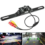 AUDEW Car Rear View Reverse Backup Parking Waterproof 135 Degree Viewing Angle License Plate Mount With 7 Infrared LED Camera Night Vision