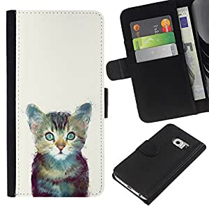 A-type (Gatito Espacio lindo gato Pintura Furry) Colorida Impresión Funda Cuero Monedero Caja Bolsa Cubierta Caja Piel Card Slots Para Samsung Galaxy S6 EDGE (NOT S6)