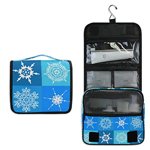 Makeup Bag Snowflake Pattern Funny Toiletry Bag Travel Cosmetic Organizer Waterproof Wash Bag for Men Women