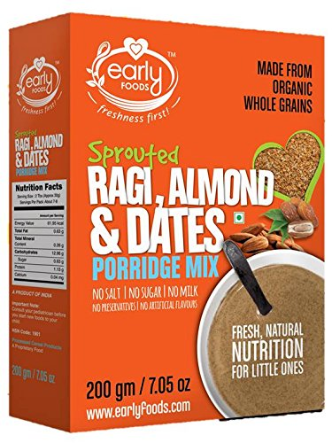 Early Foods - Organic Sprouted Ragi, Almond & Date Porridge Mix 200g - Indian Baby Foods, 100% Plant Based Baby Food by Early Foods