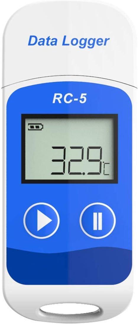 YUHT - Registrador de Datos de Temperatura térmica, USB, Pantalla LCD, Grabador de Datos de Temperatura Reutilizable, Software de Capacidad de 32000 Puntos para Ventana o Mac