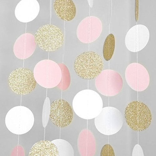 MerryNine Paper Garland, 5 Pack 50ft Hanging Glitter Paper Garland Circle Dots for Wedding, Bridal Showers, Birthday Party, Baby Shower, Event & Party Decor (Circle Polka Dots-Pink White Gold)