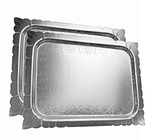 "Price comparison product image Set of 2 Disposable Heavy Duty Serving Platters Silver 16"" x 12"""