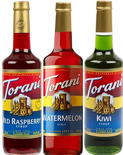 Torani Syrup Summer Fun 3 Pack Assortment, Watermelon, Red Raspberry, and Kiwi, 25.4 Ounce Bottles Each