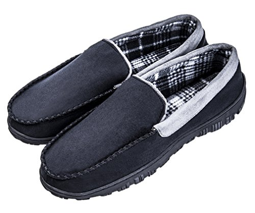 Moccasin amp;grey Black Shoes Slip Indoor Outdoor Men's Slippers On Festooning Pile House Microsuede Lined 1Oxpfnw5q