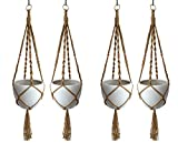 Cheap HANPO 4 Legs Macrame Plant Hanger Hanging Planter Natural Jute Plant Holder with Wood Bead Decoration and Metal Ring 50″ for 10 inch Planter Pot (4)