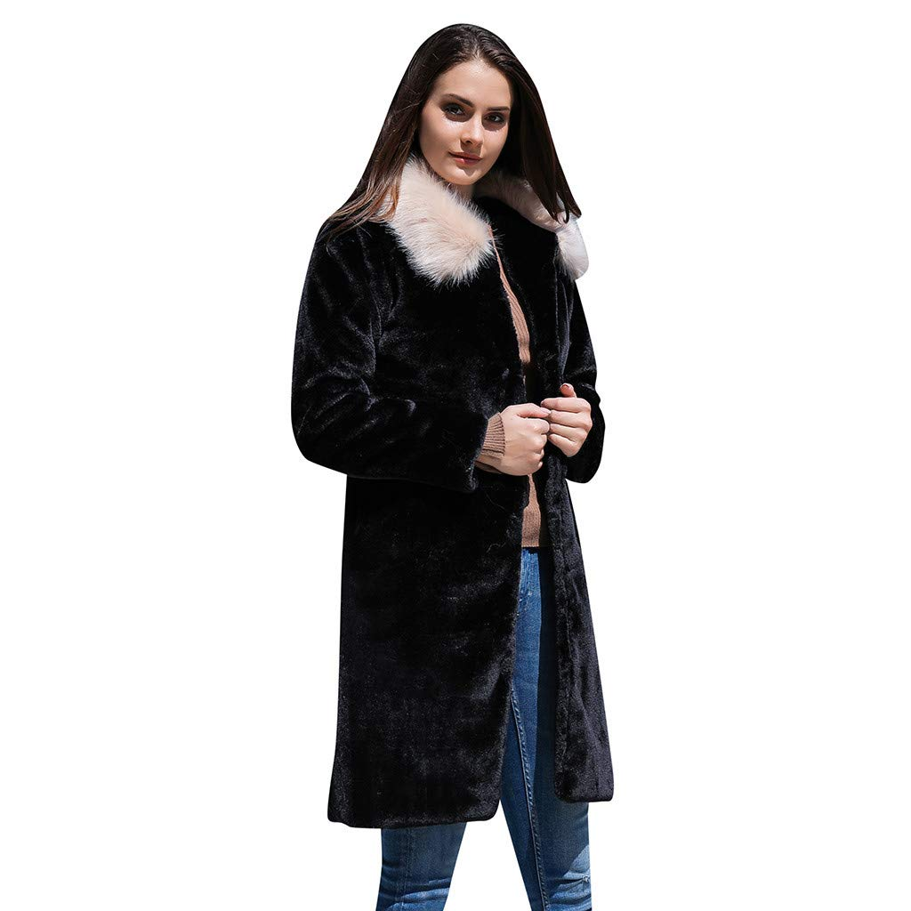 Cuekondy Women's Winter Warm Lapel Cardigan Fuzzy Fleece Open Front Coat Solid Color Faux Fur Warm Outwear Jackets