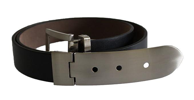 Designer Negro - Cinturón de piel con hebilla metálica para ...