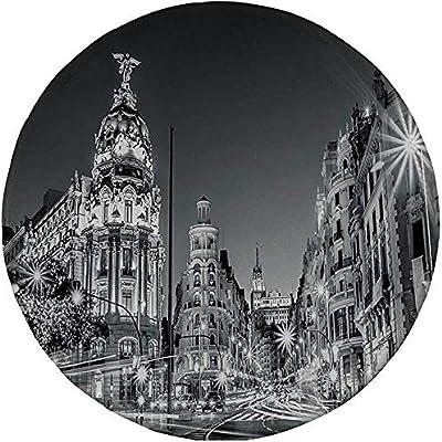 Alfombrilla de ratón Redonda de Goma, Decoraciones en Blanco y Negro, Madrid Ciudad Noche España Calle Principal Arquitectura Antigua Decorativa, Gris: Amazon.es: Electrónica