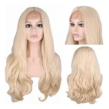 wig Peluca De Encaje Frontal Sintético Body Wave Gold White Color Pelucas Peluca Rubia Larga Despedida