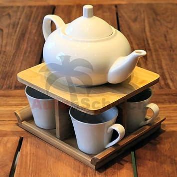 64e4c57c 6-piece set.Porcelain tea set, white, bamboo stand, wood, set, 1000 ...