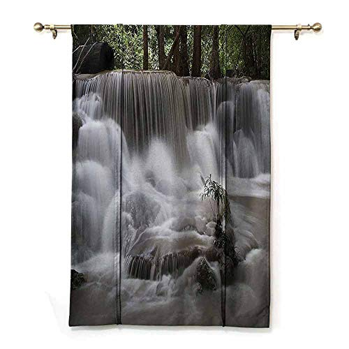 (DONEECKL Insulated Roman Curtain Waterfall Decor Collection Mystic Waterfall in Forest Trees Splashing Water Babbling Brook Photography Breathability W32 xL72 White Green Olive)