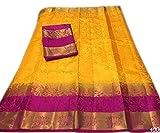 Nirja Creation Multi Color Fancy Party wear Cotton Silk Saree (6 Color) (YELLOW PINK)