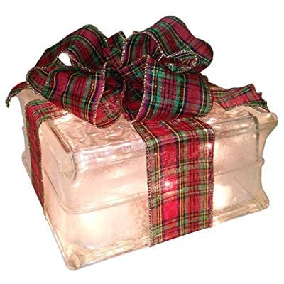 Lighted Glass Block with Holiday Plaid Ribbon
