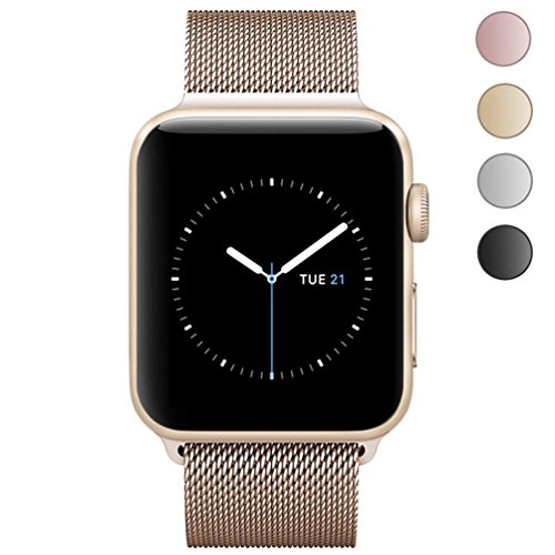 Apple Watch Band 38mm, KYISGOS Strong Magnetic Milanese Loop Stainless Steel Replacement iWatch Strap for Apple Watch Series 2 Series 1 Nike+ Sport and Edition, Gold