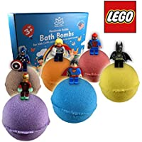 Organic Handmade Bath Bombs with LEGO TOYS INSIDE for Kids – Natural and Safe Bombs with Essential Oils – with Toys Inside – Great Gift Set for Boys and Girls – 6 x 5 OZ