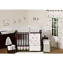 Riley's Roses Pink and Sage Green Shabby Chic Floral Baby Girl Flower Bedding 11pc Crib Set without bumper