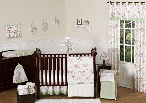 UPC 846480020806, Riley's Roses Pink and Sage Green Shabby Chic Floral Baby Girl Flower Bedding 11pc Crib Set without bumper