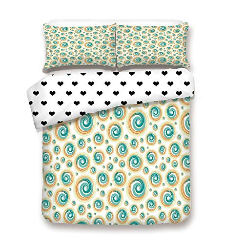 (Duplex Print Duvet Cover Set Queen Size/Trippy Paint Brush Rotary Spiral Circle Patterns Hazy Tiles Picture/Decorative 3 Piece Bedding Set with 2 Pillow Sham,Teal Orange,Best Gift For Your)