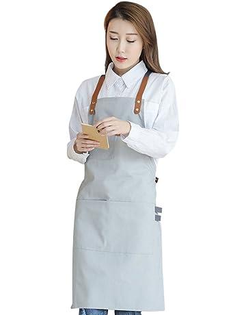 Pinji Delantal de Lona para Cocina, Delantal Ajustable con Bolsillos para Mujeres Hombres Diseño de
