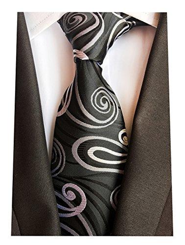 MENDENG Classic Paisley Black White Gold Jacquard Woven Silk Men's Tie (Black And White Paisley)