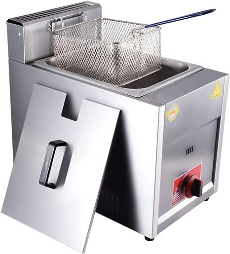frying pan Freidora De Butano Y Gas Propano, Tanque De Encendido Y Sazonado por Pulsos De Freidora Comercial, Freidora De Acero Inoxidable, con ...