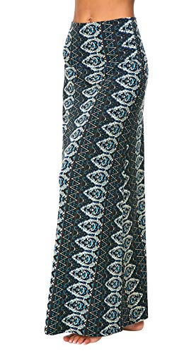 Urban CoCo Women's Stylish Spandex Comfy Fold-Over Flare Long Maxi Skirt (M, 2)