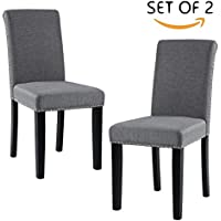 DAGONHIL Dining Chairs with Nailhead Detail and Solid Wood Legs, Set of 2 (Gray)