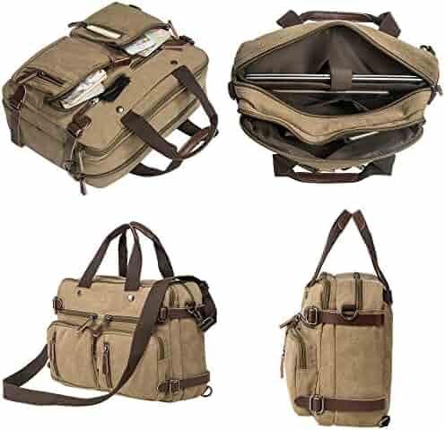 HIKA Vintage 3-Way Convertible Briefcase Laptop Backpack Messenger Bag Backpack