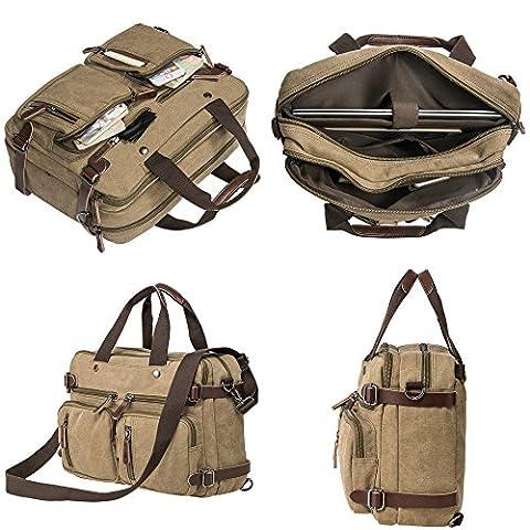 HIKA Vintage 3-Way Convertible Briefcase Laptop Backpack Messenger Bag Backpack-Vintage Khaki