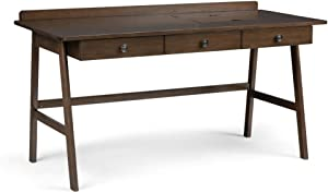 SIMPLIHOME Rylie SOLID WOOD Contemporary Modern 60 inch Wide Home Office Desk, Writing Table, Workstation, Study Table Furniture in Natural Aged Brownwith 3 Drawers