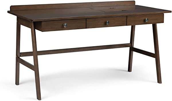 Amazon Com Simplihome Rylie Solid Wood Contemporary Modern 60 Inch Wide Home Office Desk Writing Table Workstation Study Table Furniture In Natural Aged Brownwith 3 Drawers Furniture Decor