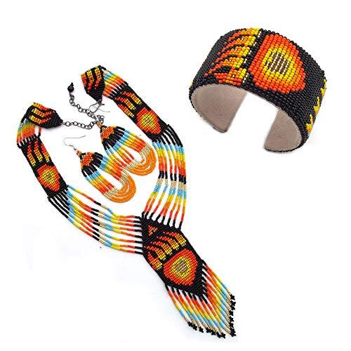 Native American Style Beaded Jewelry Set Necklace Earrings Bracelet Handmade (Black) (Native American Beaded)