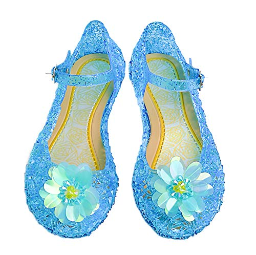 5a70ebab21 Kuzhi Jelly Mary Jane Shoes Cosplay Frozen Elsa Anna Cinderella Princess  Shoes for Kid(Toddler